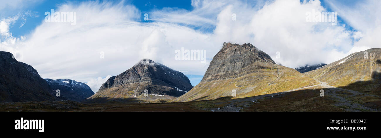 Panoramic view of Ladtjovagge viewed from near Kebnekaise Fjällstation, Lappland, Sweden - Stock Image