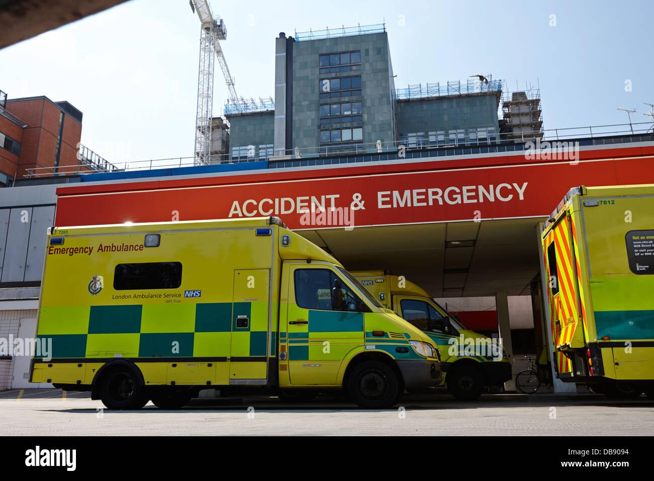 hospital accident and emergency entrance with ambulances London England UK - Stock Image
