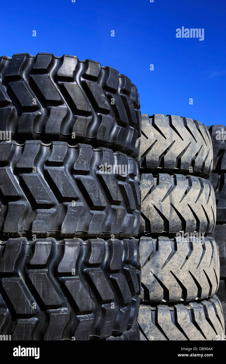 Stack of large truck tires - Stock Image