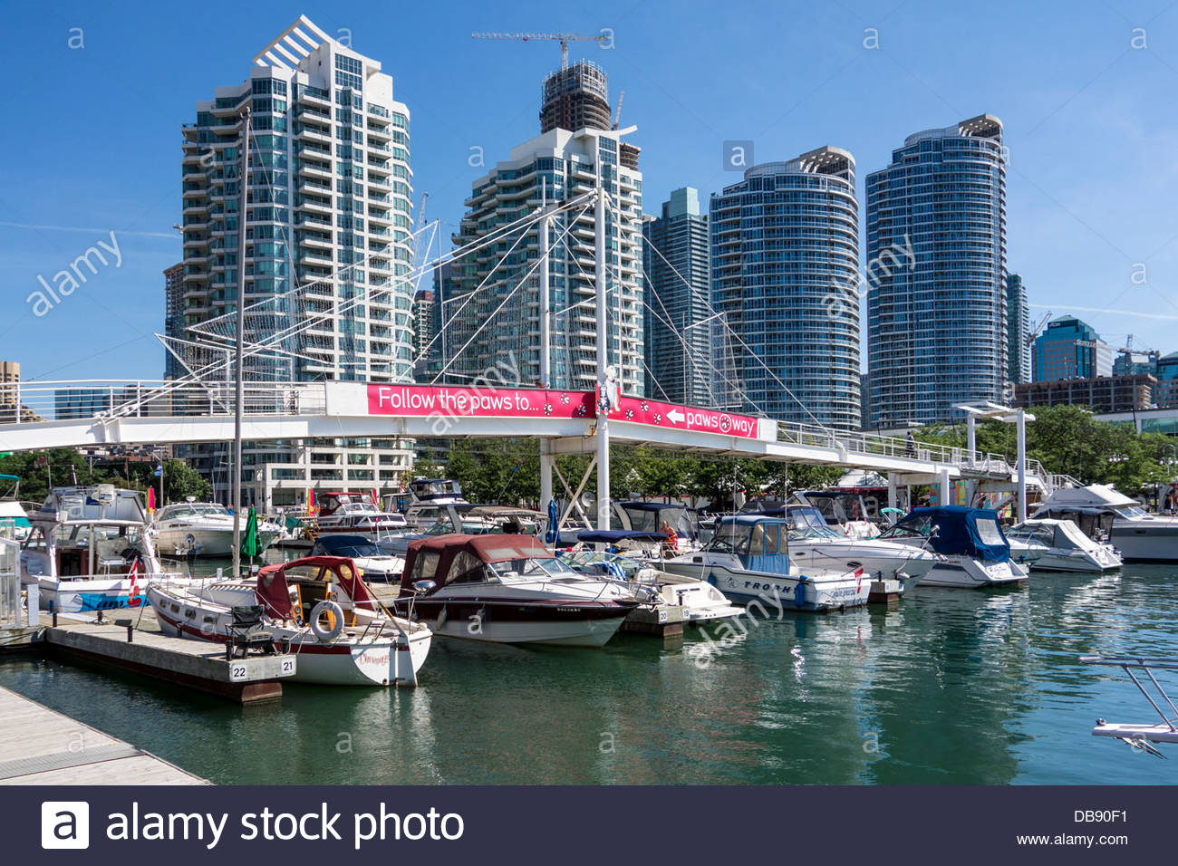 Condominium apartments and Harbourfront marina in Toronto Ontario Canada - Stock Image