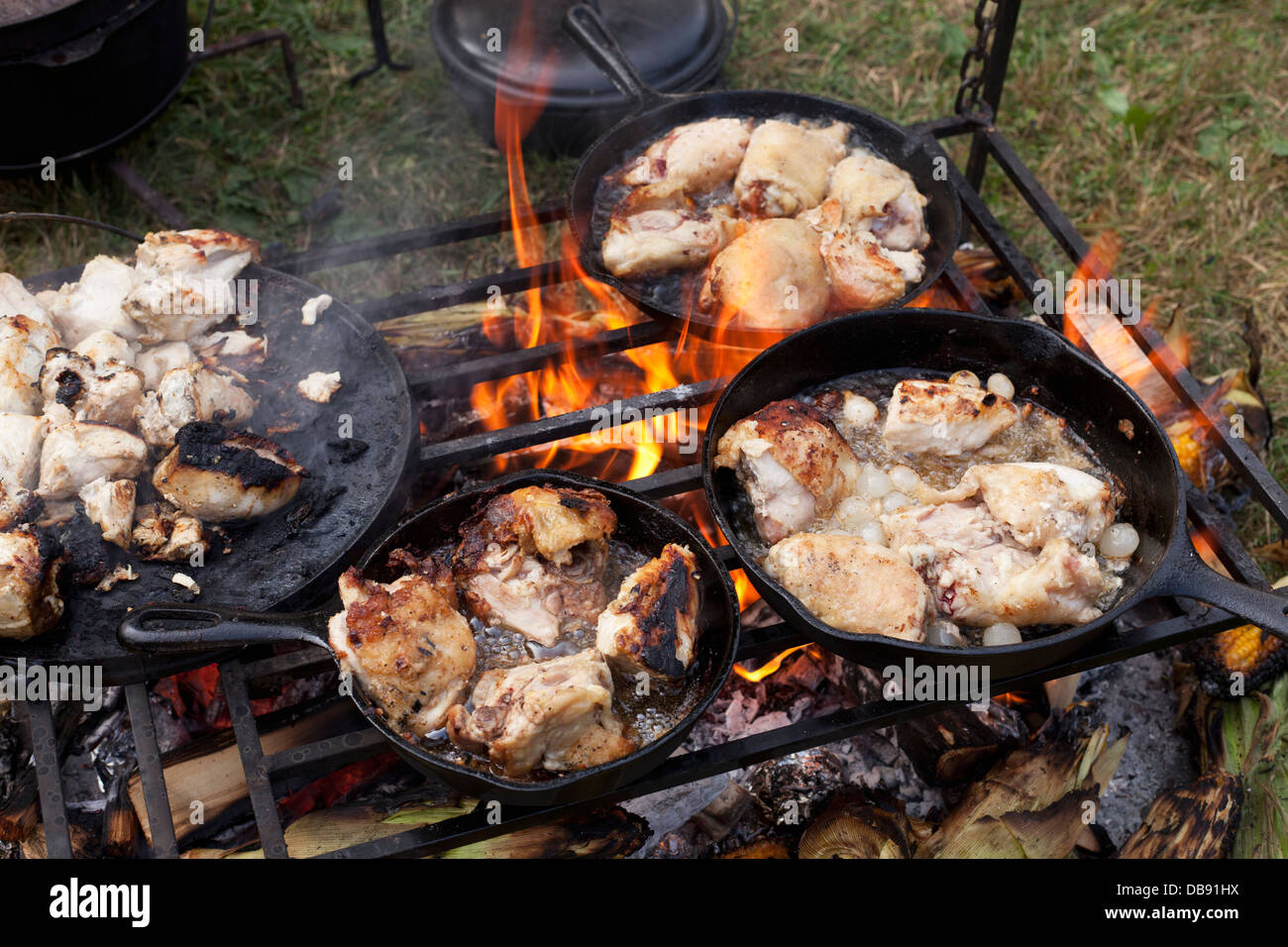 Canada,Ontario,Fort Erie, War of 1812 re-enactment of the Siege of Fort Erie, cooking chicken on an open fire grill Stock Photo