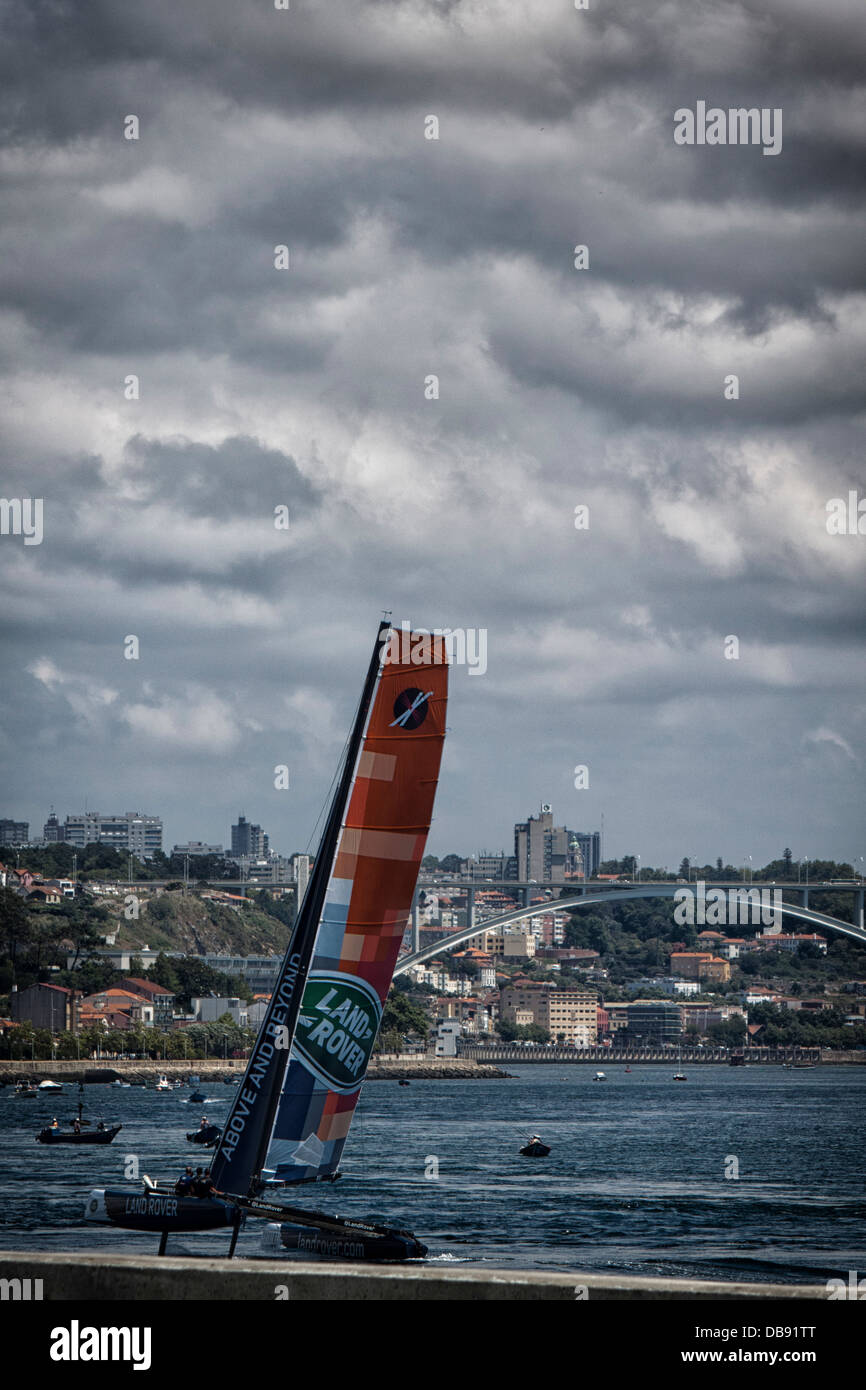Boats during extreme sailing series 2013 in Oporto, Portugal - Stock Image