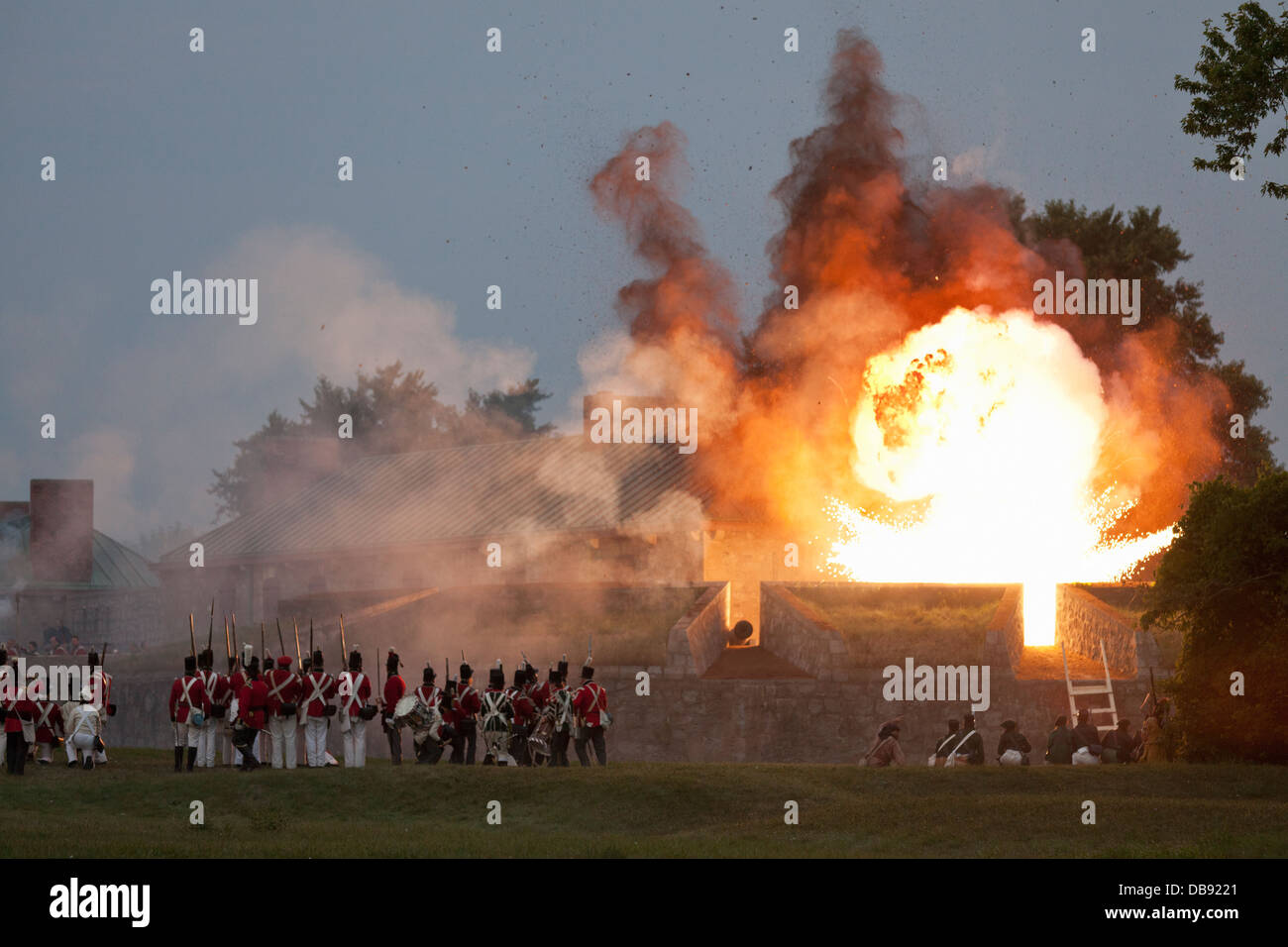 Canada,Ontario,Fort Erie,Old Fort Erie, War of 1812 re-enactment of the Siege of Fort Erie - Stock Image