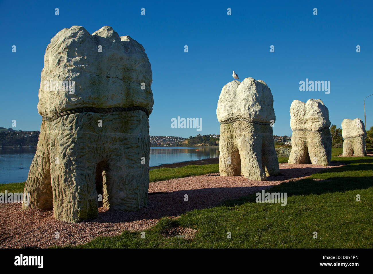 Harbour Mouth Molars by artist Regan Gentry, and Otago Harbour, Dunedin, South Island, New Zealand - Stock Image