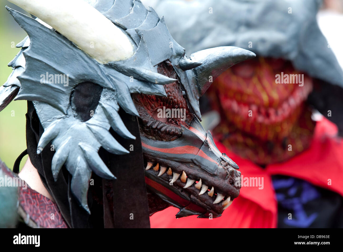 Costumed participants pose at the'Drachenfest' (Dragon Fest) in Diemelstadt,Germany, 25 July - Stock Image