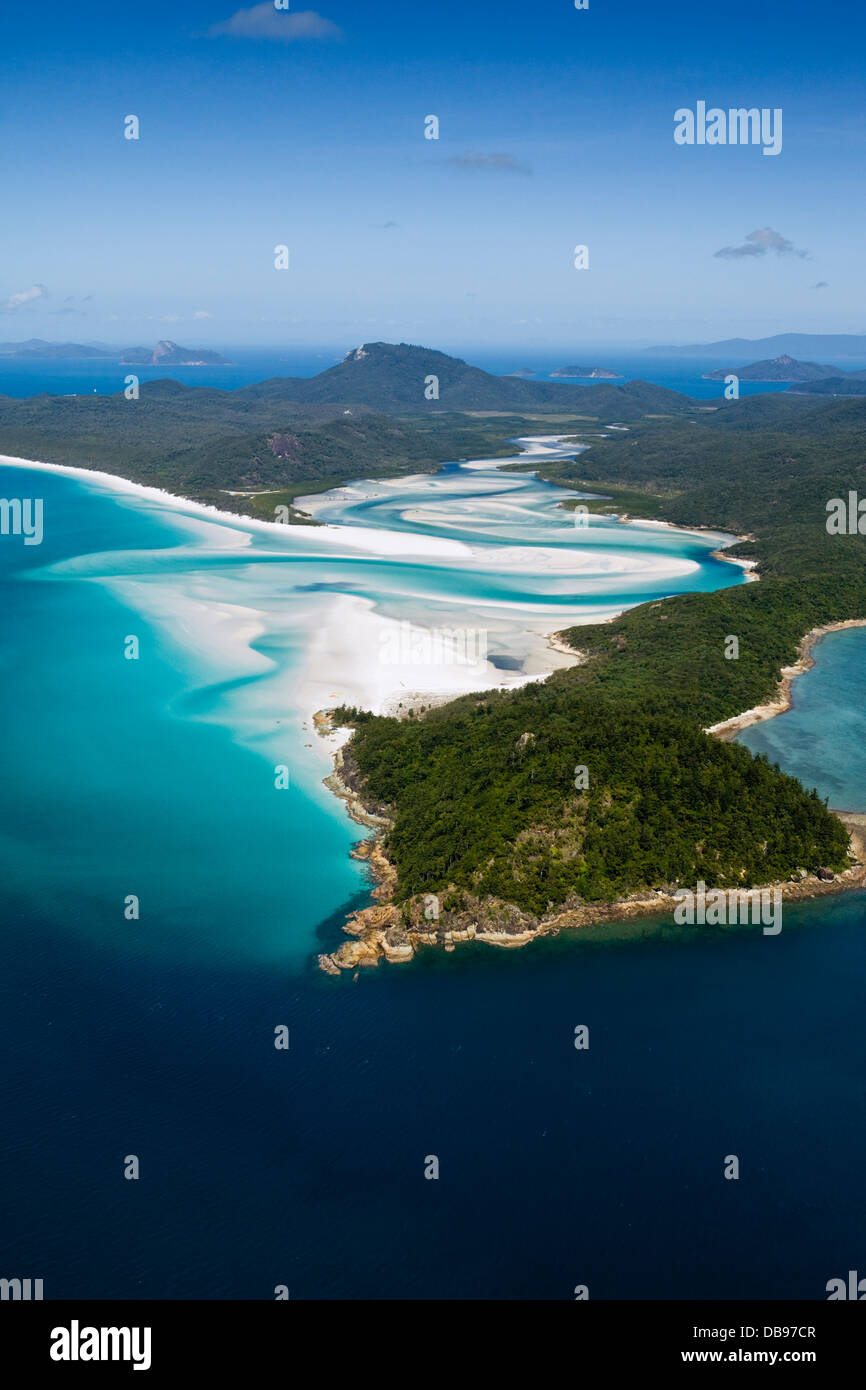 Aerial view of Tongue Point, Hill Inlet and Whitehaven Beach. Whitsunday Island, Whitsundays, Queensland, Australia - Stock Image