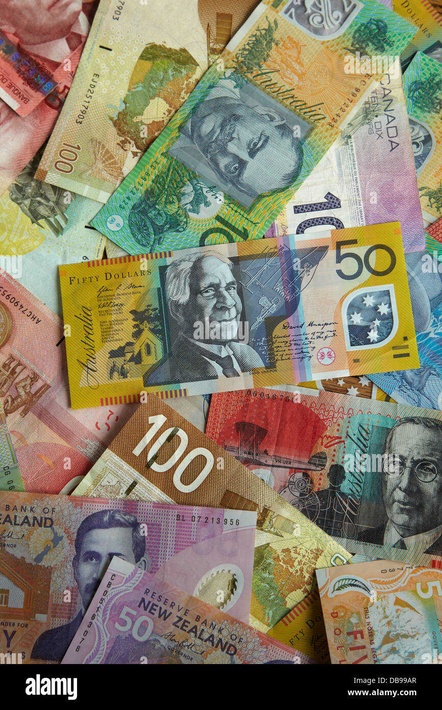 Foreign currency - Australian, Canadian, and New Zealand dollars - Stock Image