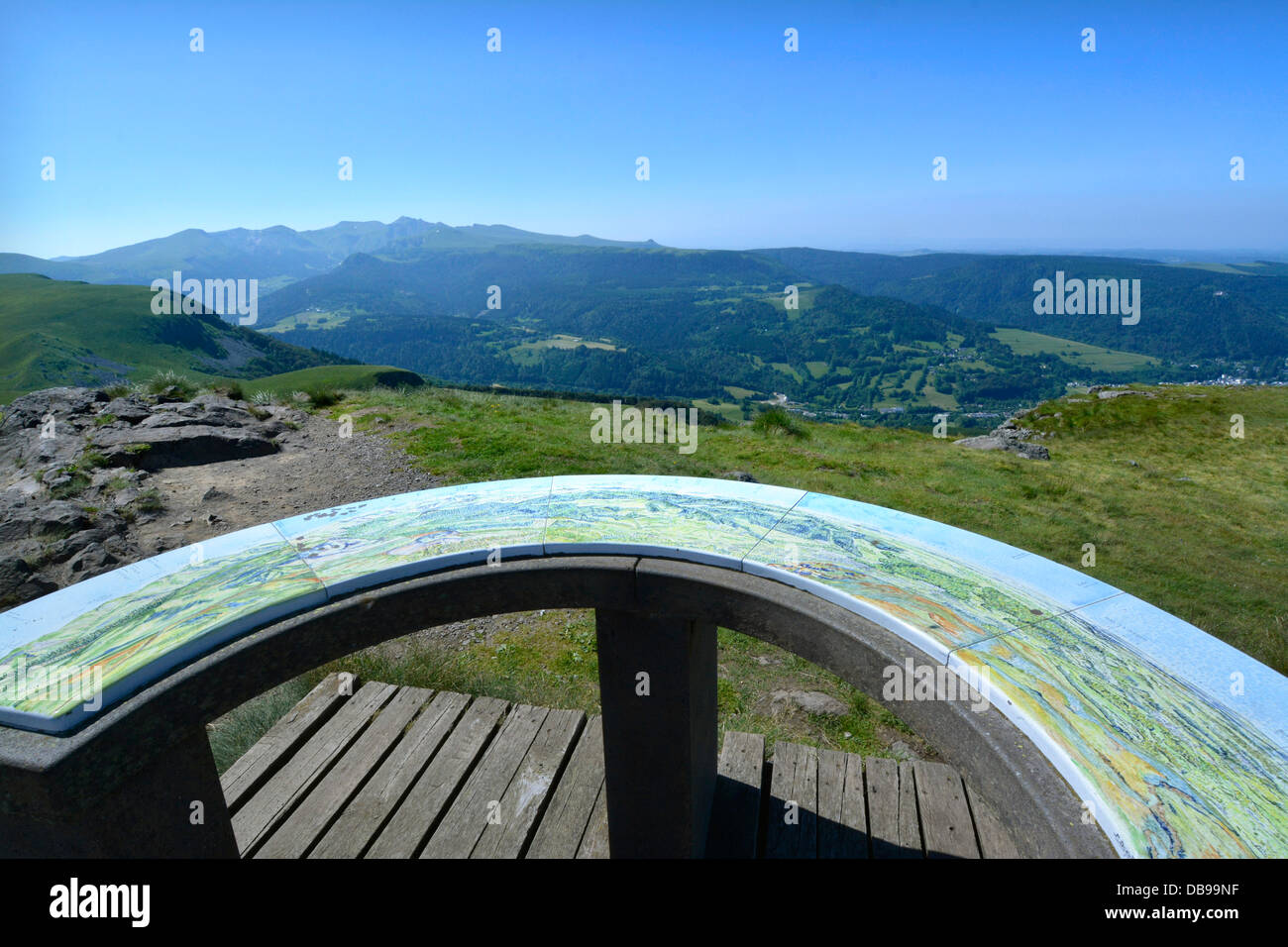 Panoramic view of the viewpoint of the chain of monts Dore. Puy-de-dôme. Auvergne. France. - Stock Image
