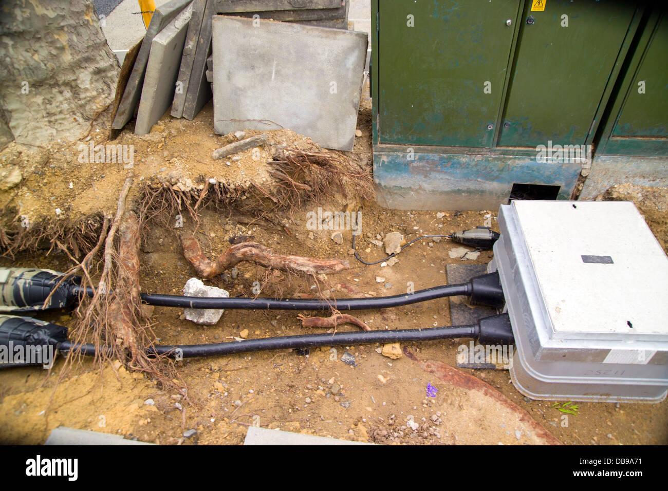 power line underground works in street open underground ... on