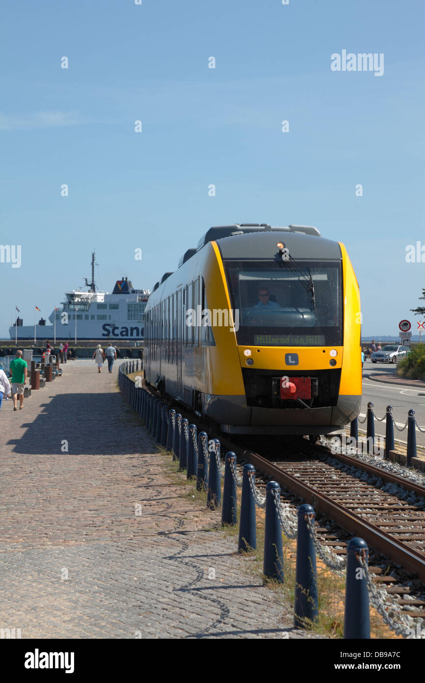 Port of Elsinore, Denmark. Branch line train from Elsinore to Gilleleje and Hillerød, Scandlines ferry to Helsingborg, - Stock Image