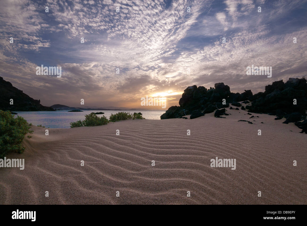 Sunset behind sand and rock, Sadler Island, Eritrea - Stock Image