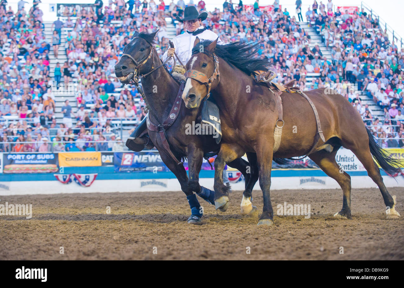 Cowboy Participant at the Reno Rodeo Professional Rodeo held in Reno Nevada - Stock Image