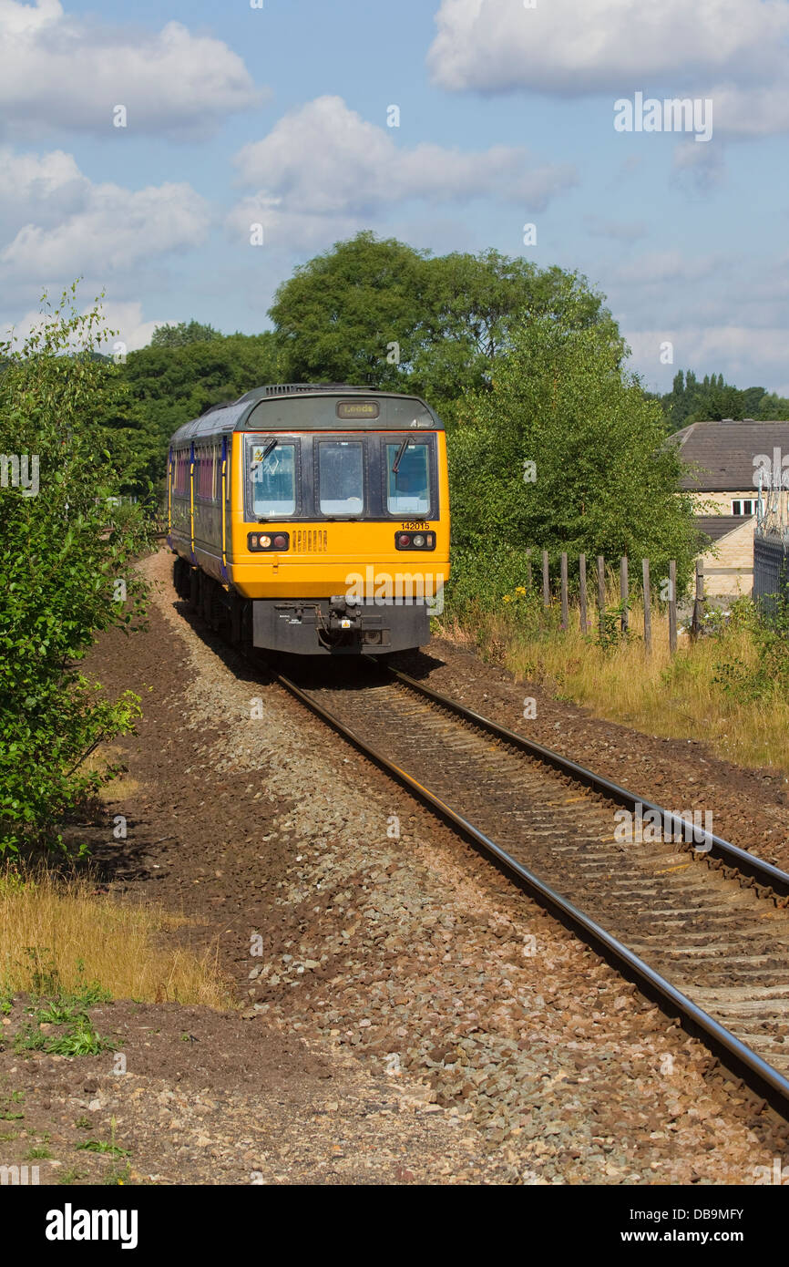 British Railways Class 142 2-car Diesel Multiple Unit 142015 destination Leeds passing through Mirfield in West - Stock Image