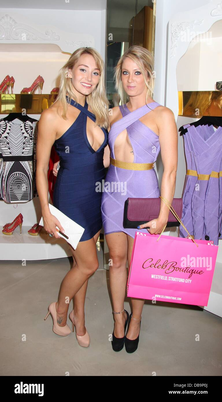 London uk ,25th july 2013. Melissa Wells and Sophie Osmond at the opening of Celeb Boutique, Westfield Stratford - Stock Image