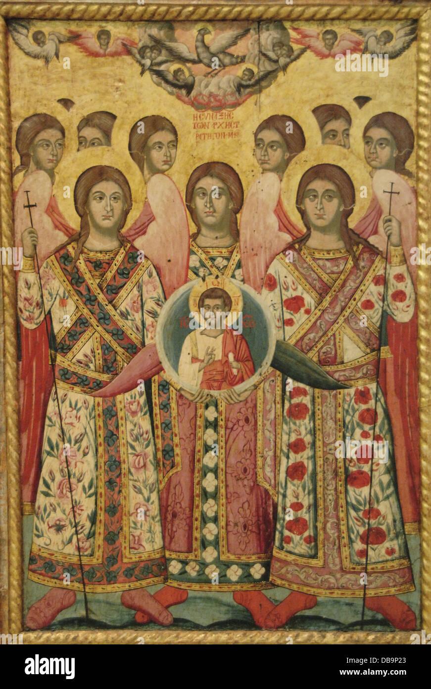 Saints. Icon. Anonymous work, 18th century. National Art Gallery. Tirana. Albania. - Stock Image