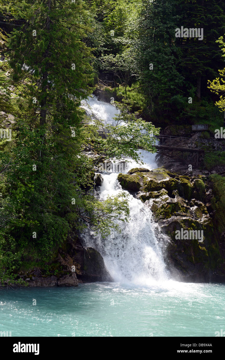 Lake Brienz is a lake in the Canon Berne in Switzerland, here the Giessbach falls Stock Photo