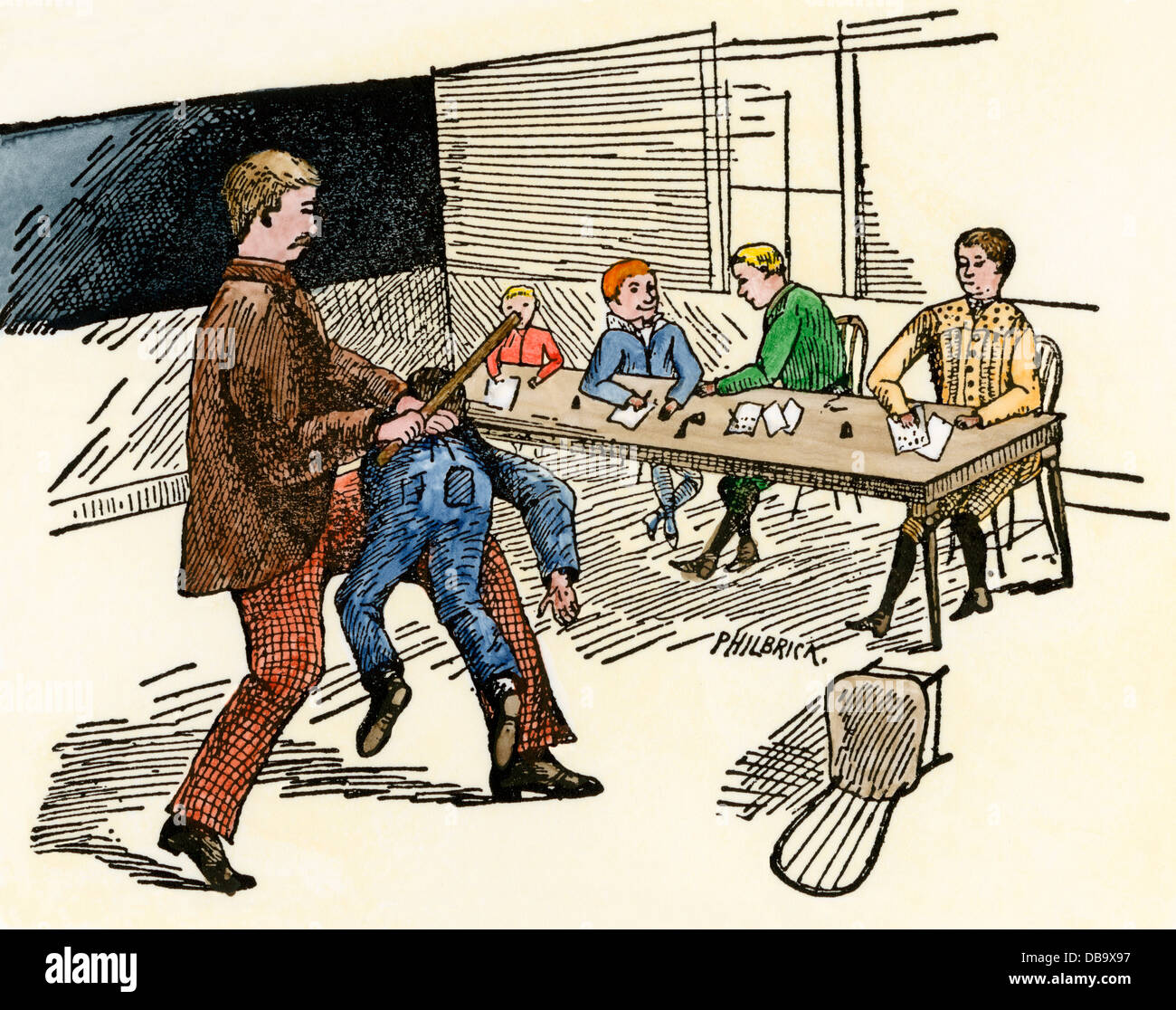 Teacher using corporal punishment on a student for spelling errors.  Hand-colored woodcut -
