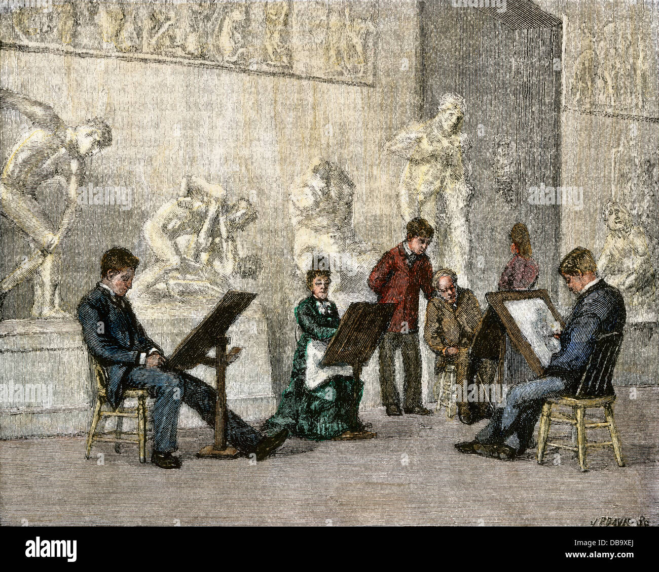 Art class drawing classical sculptures, Philadelphia Academy of Fine Arts, 1870s. Hand-colored woodcut - Stock Image