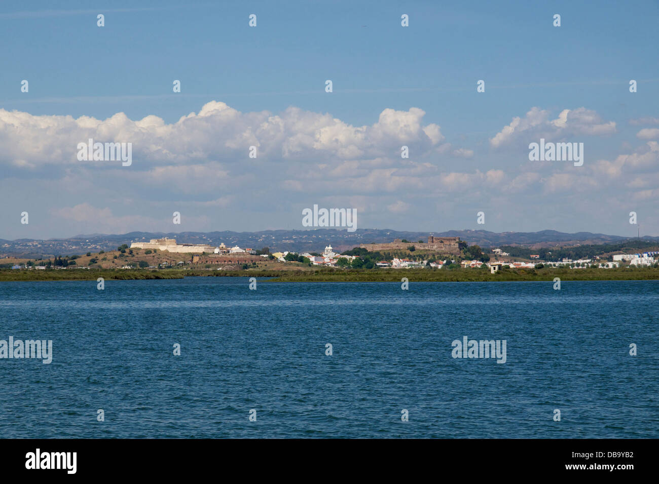 The town of Castro Marim in southern Portugal seen from the Rio Guadiana river which is the border with Spain. - Stock Image