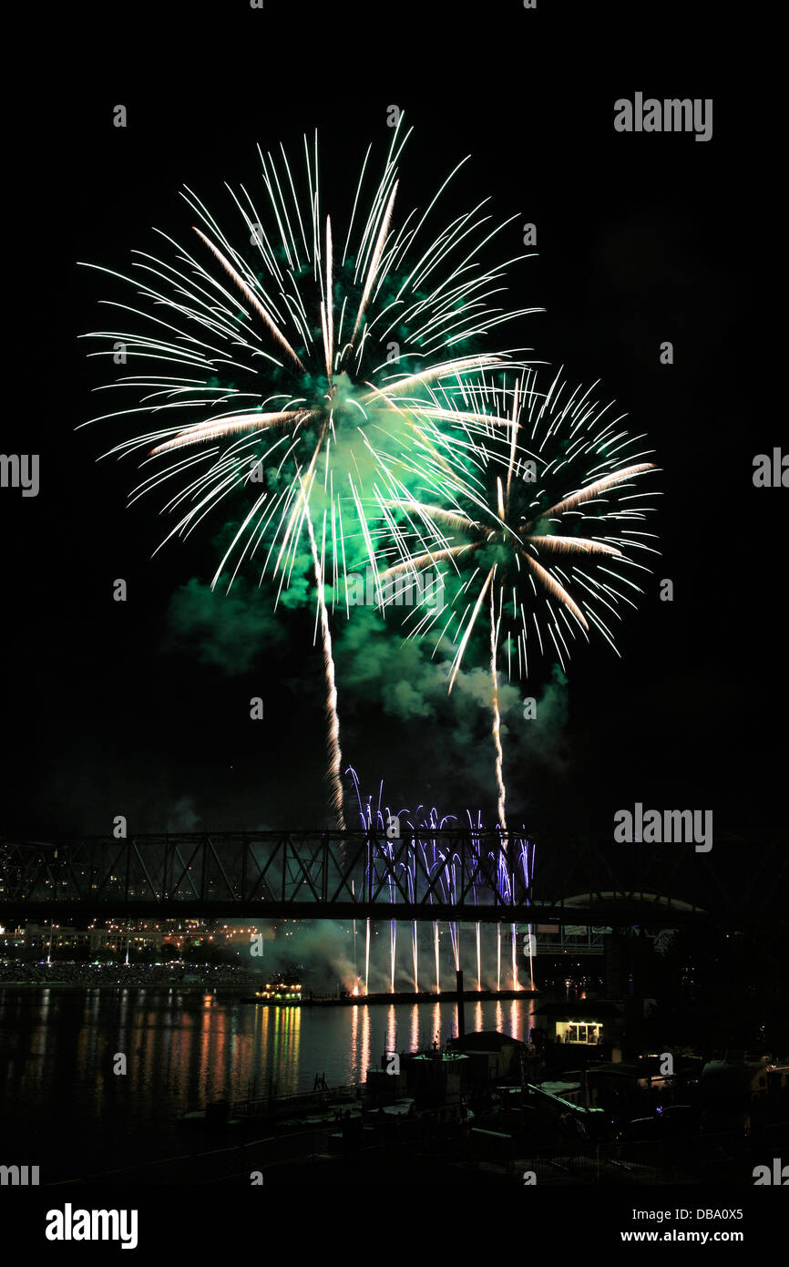 The Labor Day Fireworks Show Over The Ohio River At Cincinnati, Ohio, USA - Stock Image