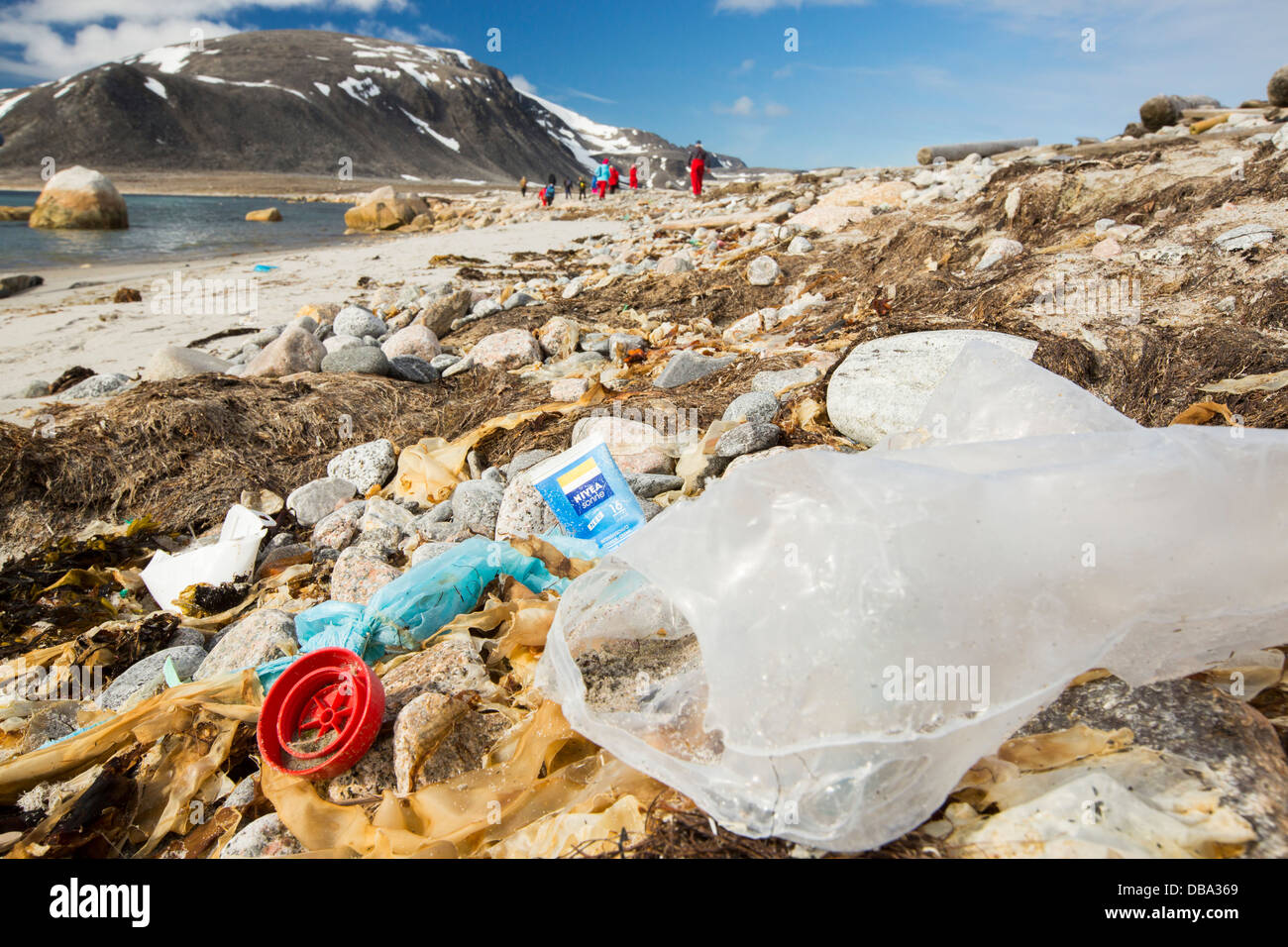 Plastic rubbish on a remote beach in Northern Svalbard, only about 600 miles from the North Pole. - Stock Image