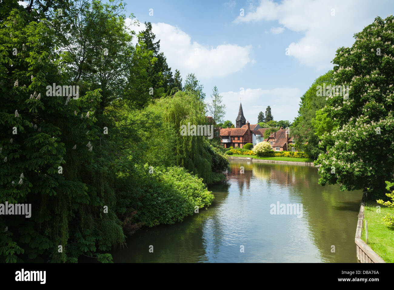 St Mary's church rises above the village of Whitchurch-on-Thames beside the River Thames, Oxfordshire, England - Stock Image