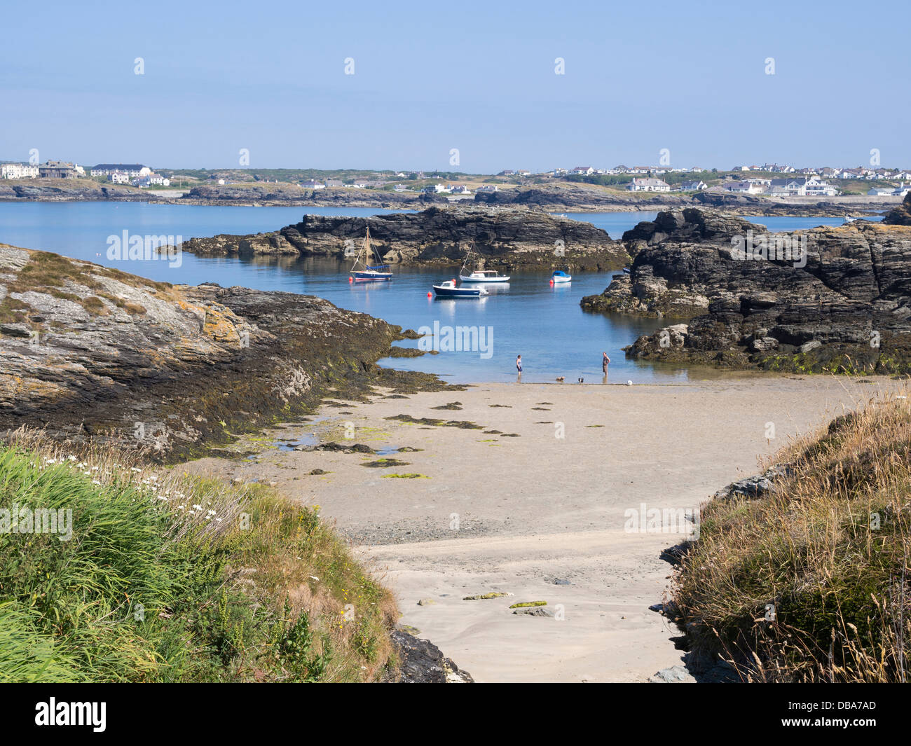 Coastline and coast scene at low tide in summer with boats moored in Porth Diana, Trearddur Bay, Holy Island, Isle - Stock Image