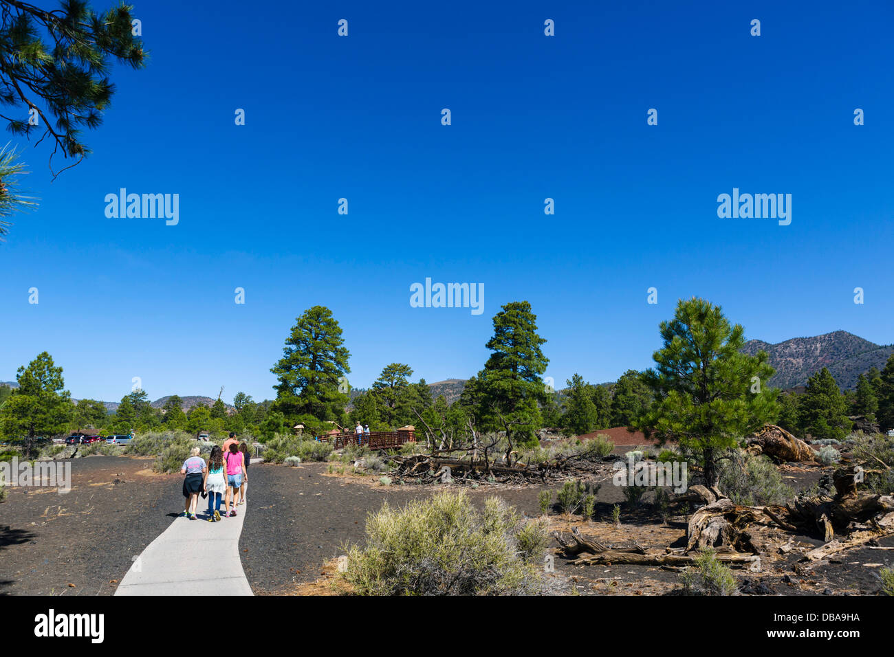 Tourists on the Lava Flow Trail at Sunset Crater Volcano National Monument, near Flagstaff, Arizona, USA - Stock Image