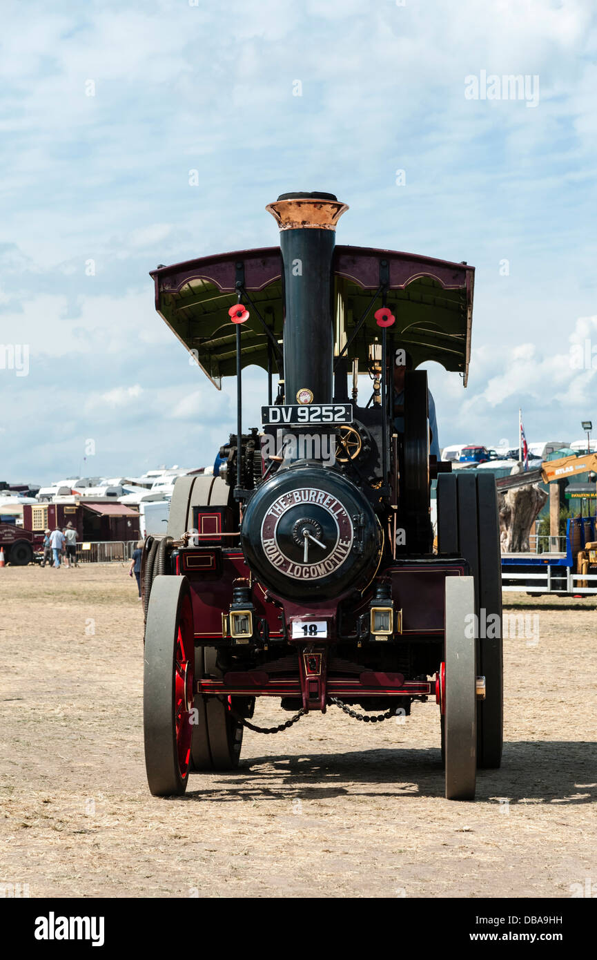 Front view of a Burrell traction engine DV 9252 at Welland steam rally, near the Malvern Hills, Worcestershire, - Stock Image
