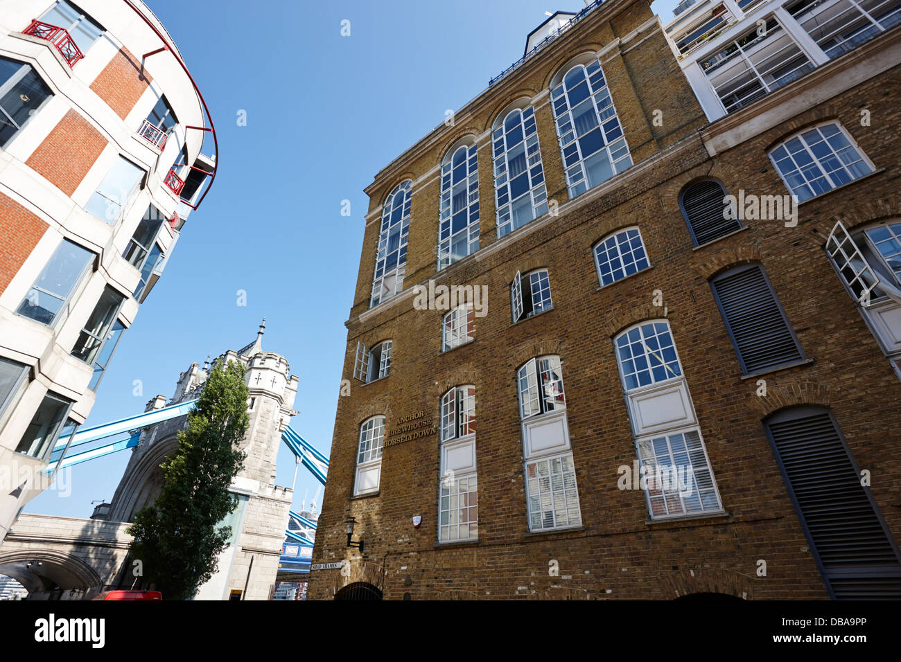 anchor brewhouse in horselydown lane shad thames London England UK - Stock Image
