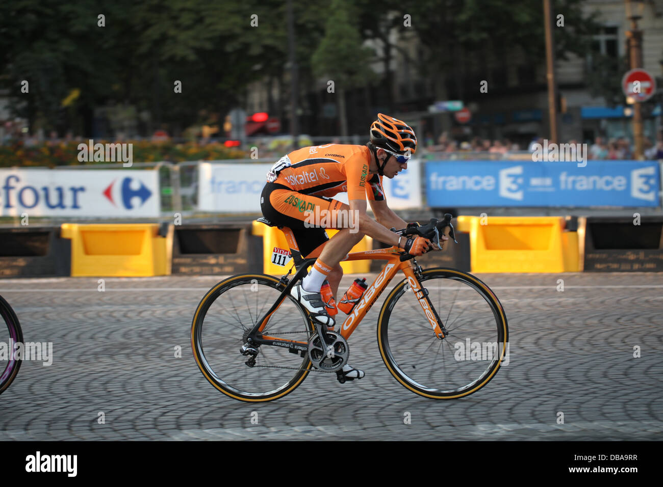 Igor Anton Hernandez of team Euskaltel Euskadi, riding the final stage of the 2013 Tour de France on the Champs - Stock Image