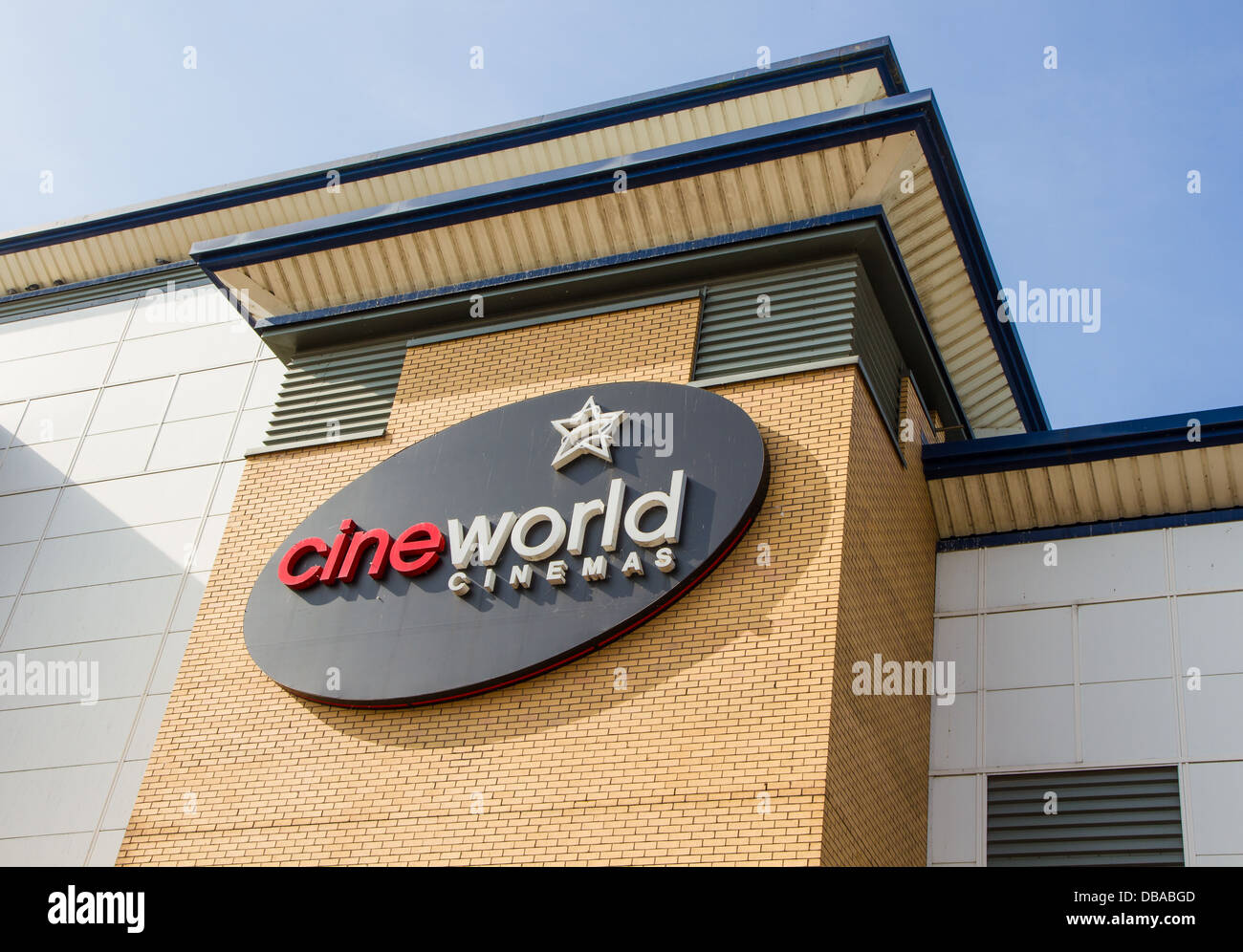 Exterior sign on Cineworld Cinema in the Valley, Bolton, Lancashire - Stock Image