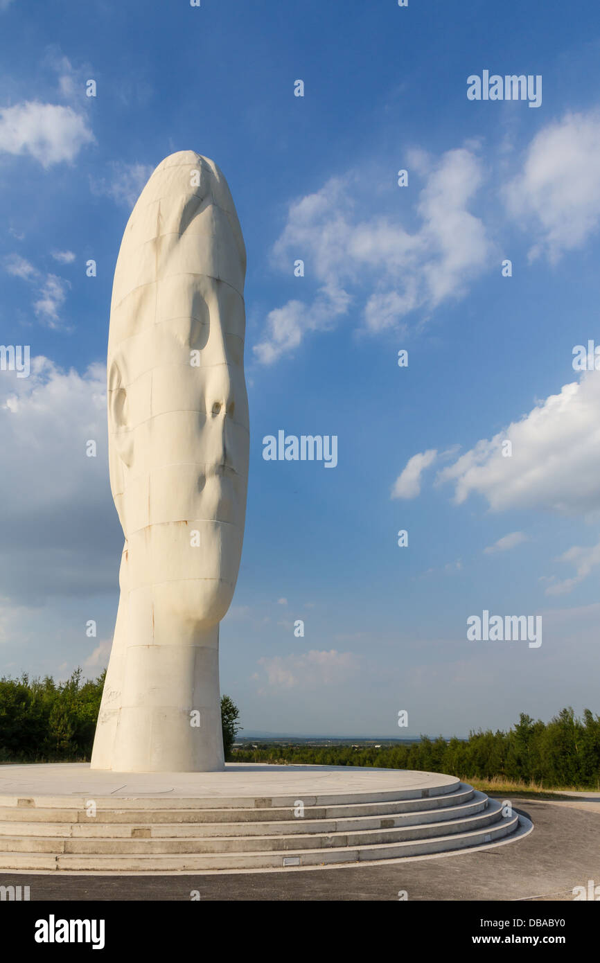 Dream, a 20m high sculpture in Bold Forest Park, Sutton Manor Colliery, St Helens, Merseyside, England. - Stock Image