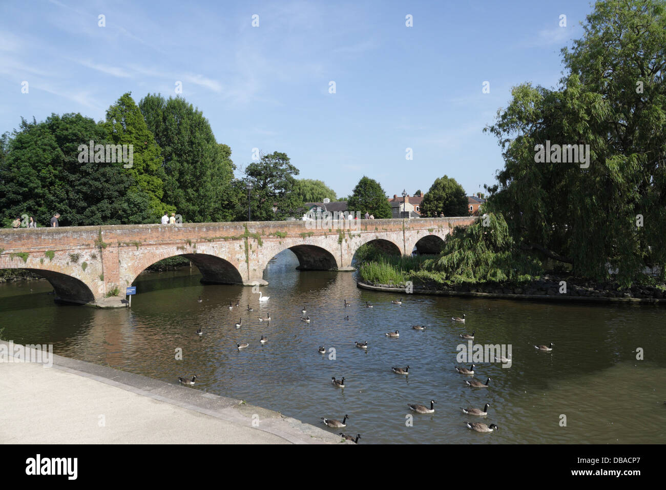 The old Tramway Bridge across the River Avon in Stratford Upon Avon - Stock Image