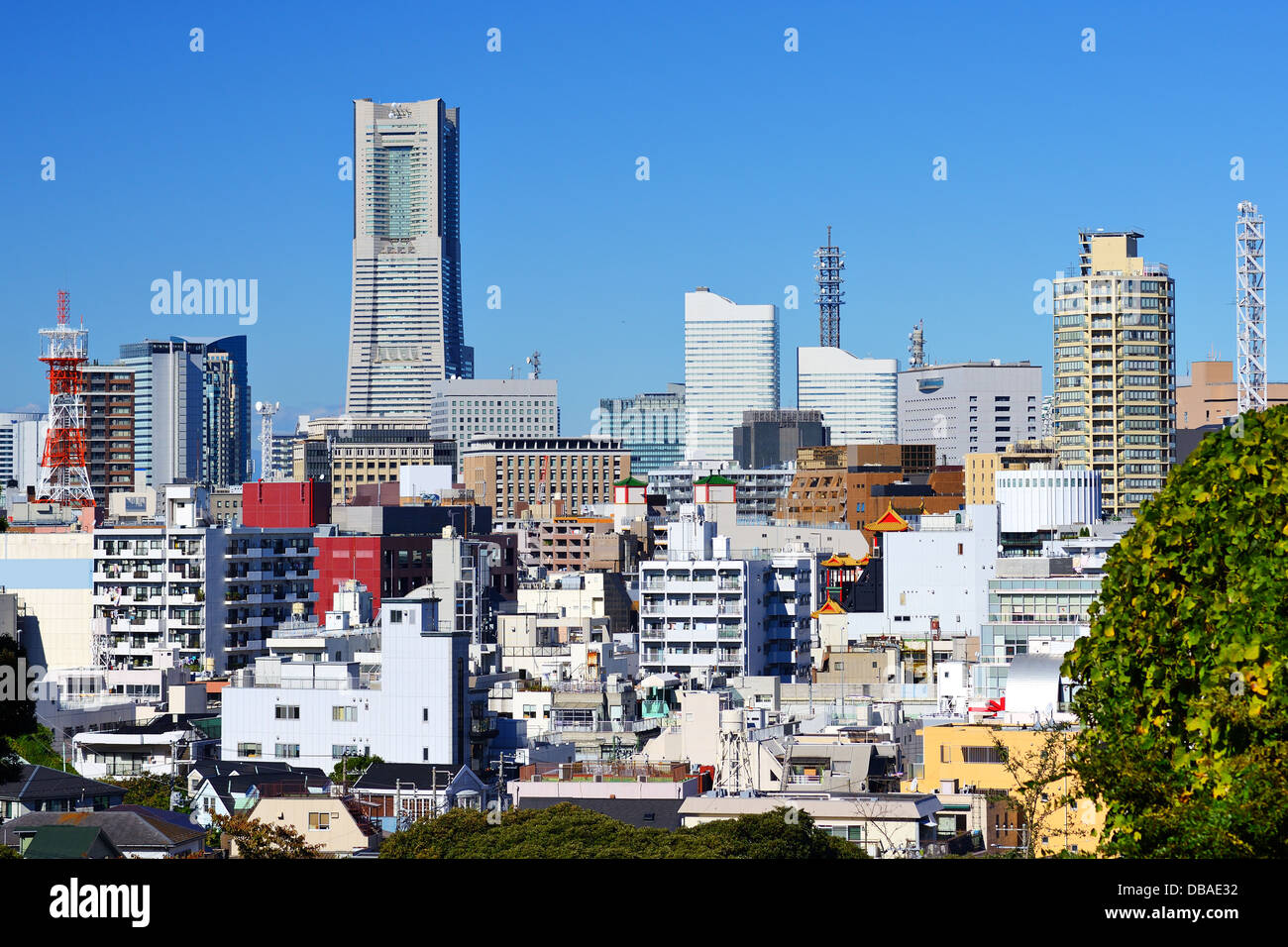 Cityscape of Yokohama, Japan, the second largest city in the country. - Stock Image