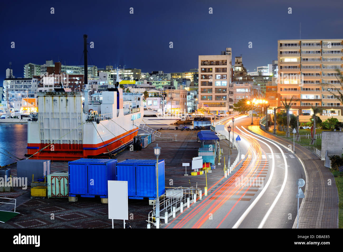 Naha, Okinawa, Japan port and cityscape. - Stock Image