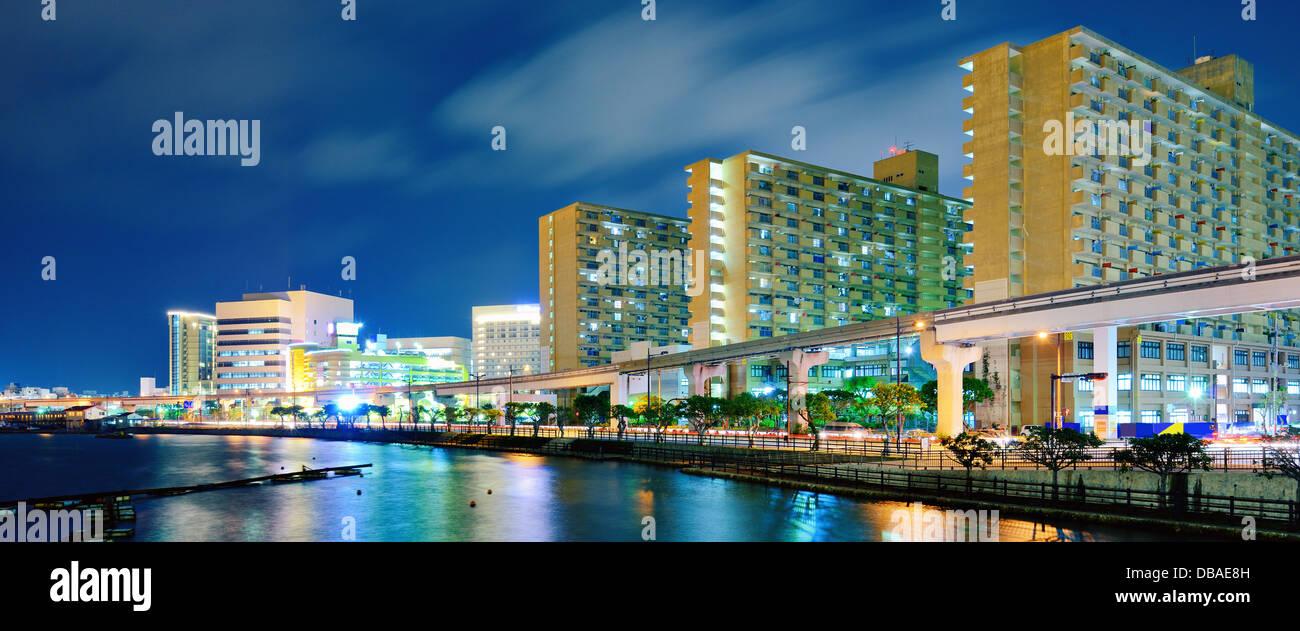 Naha, Okinawa, Japan port and cityscape. - Stock Image