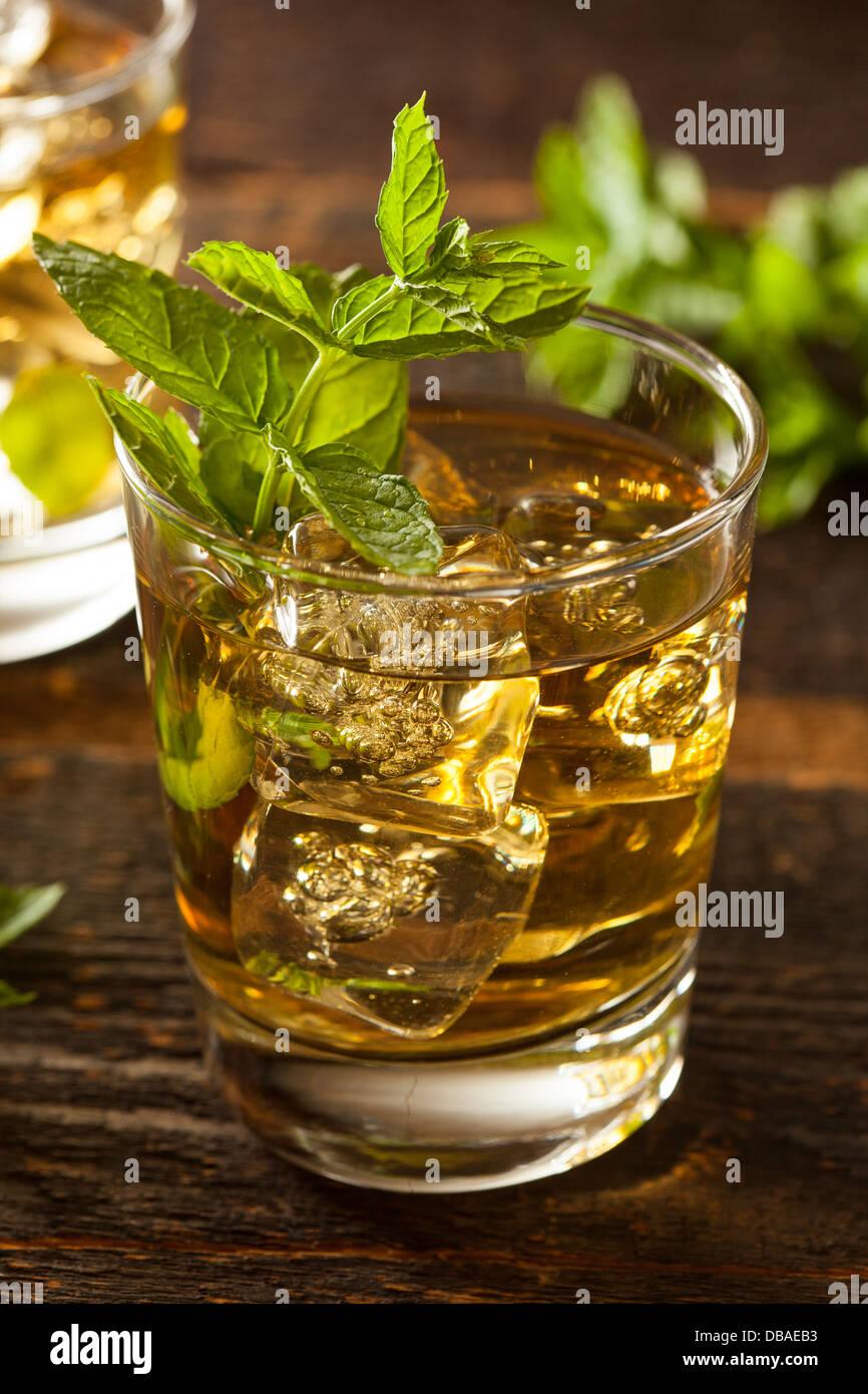 Homemade Gourmet Fresh Mint Julep Alcoholic Cocktail - Stock Image