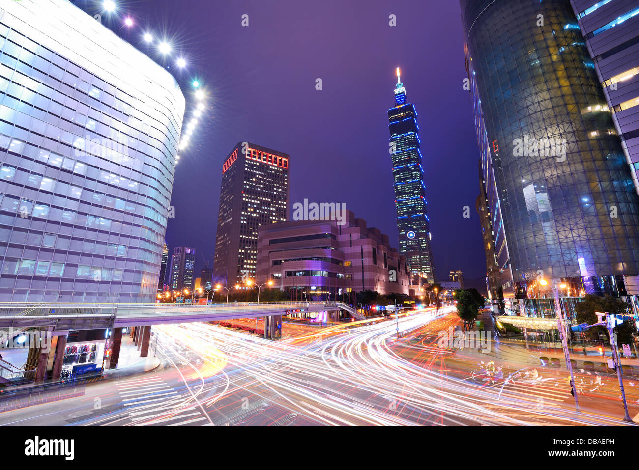 Taiwan, Taipei cityscape at the Xinyi District. - Stock Image