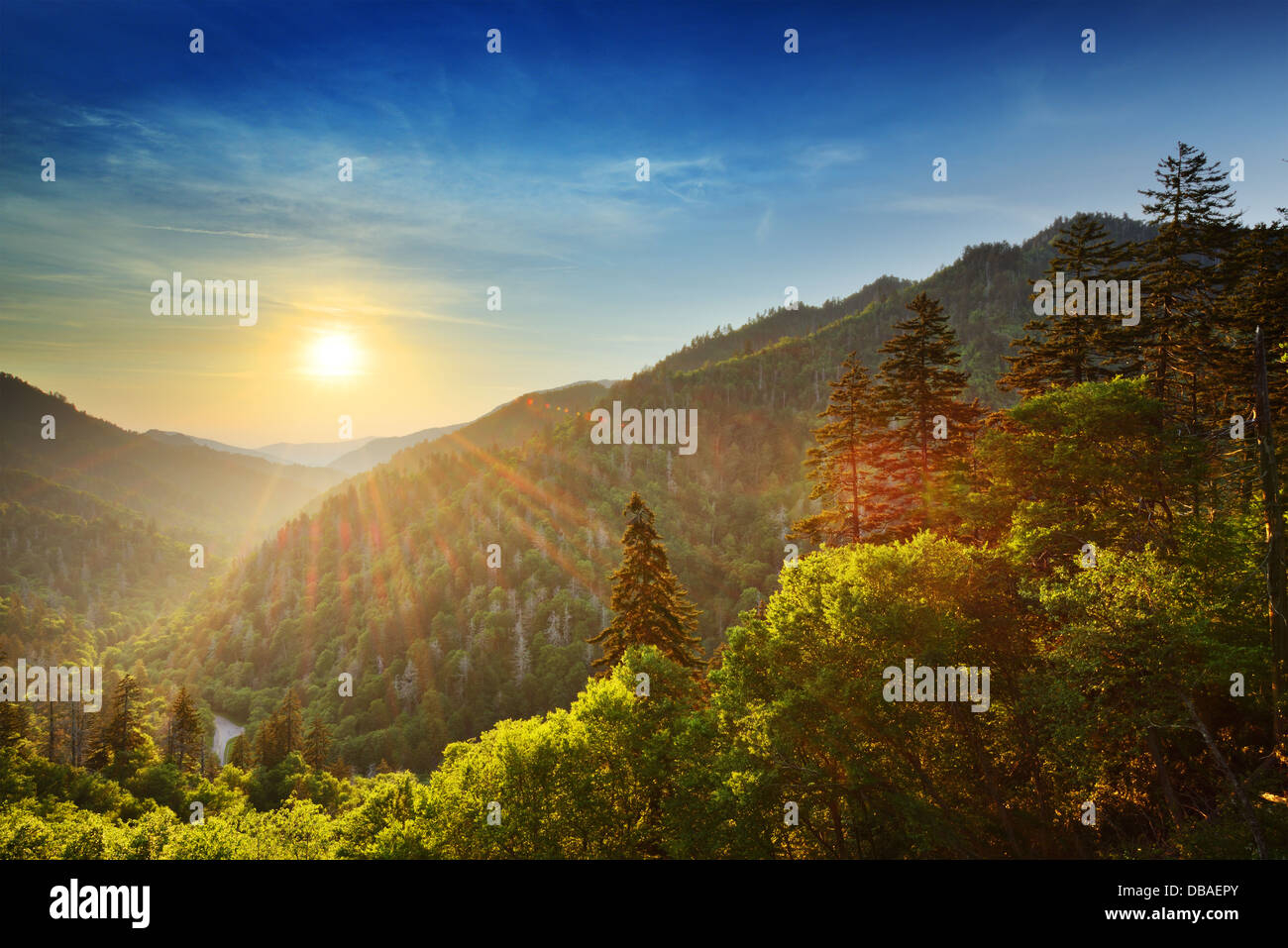 Sunset at the Newfound Gap in the Great Smoky Mountains. - Stock Image