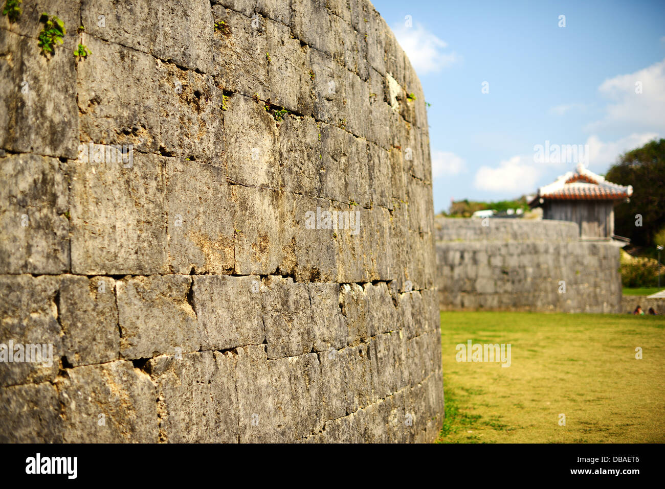 Protective wall on the grounds of Shuri Castle in Naha, Okinawa, Japan. - Stock Image