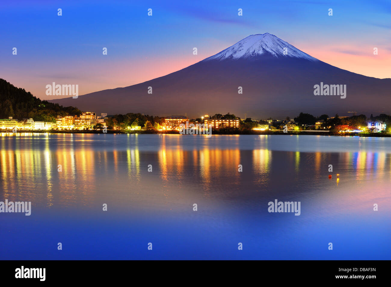 Mt. Fuji with twilight colors in japan. - Stock Image