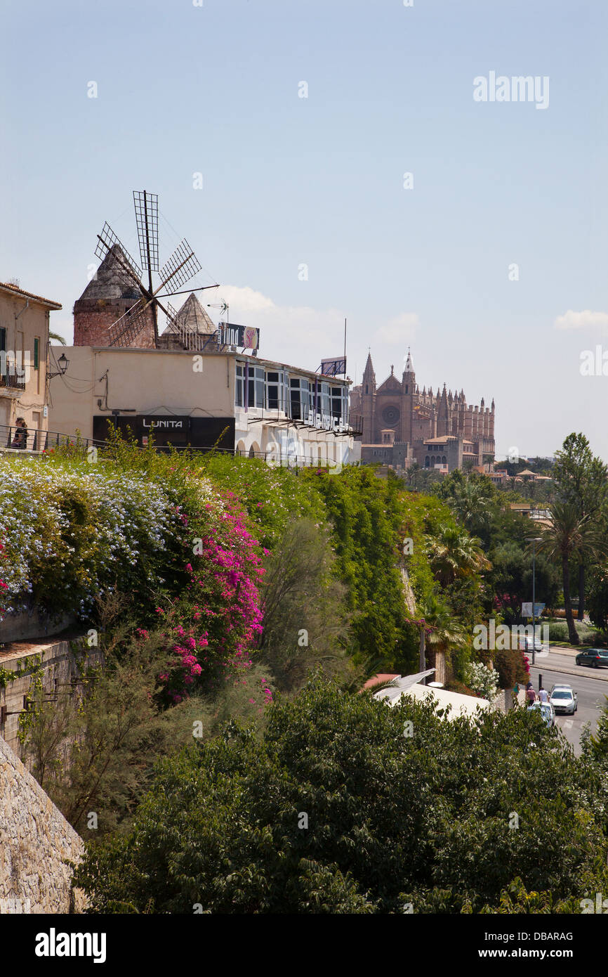 Windmill in the city of Palma on the Balearic Island of Majorca - Stock Image