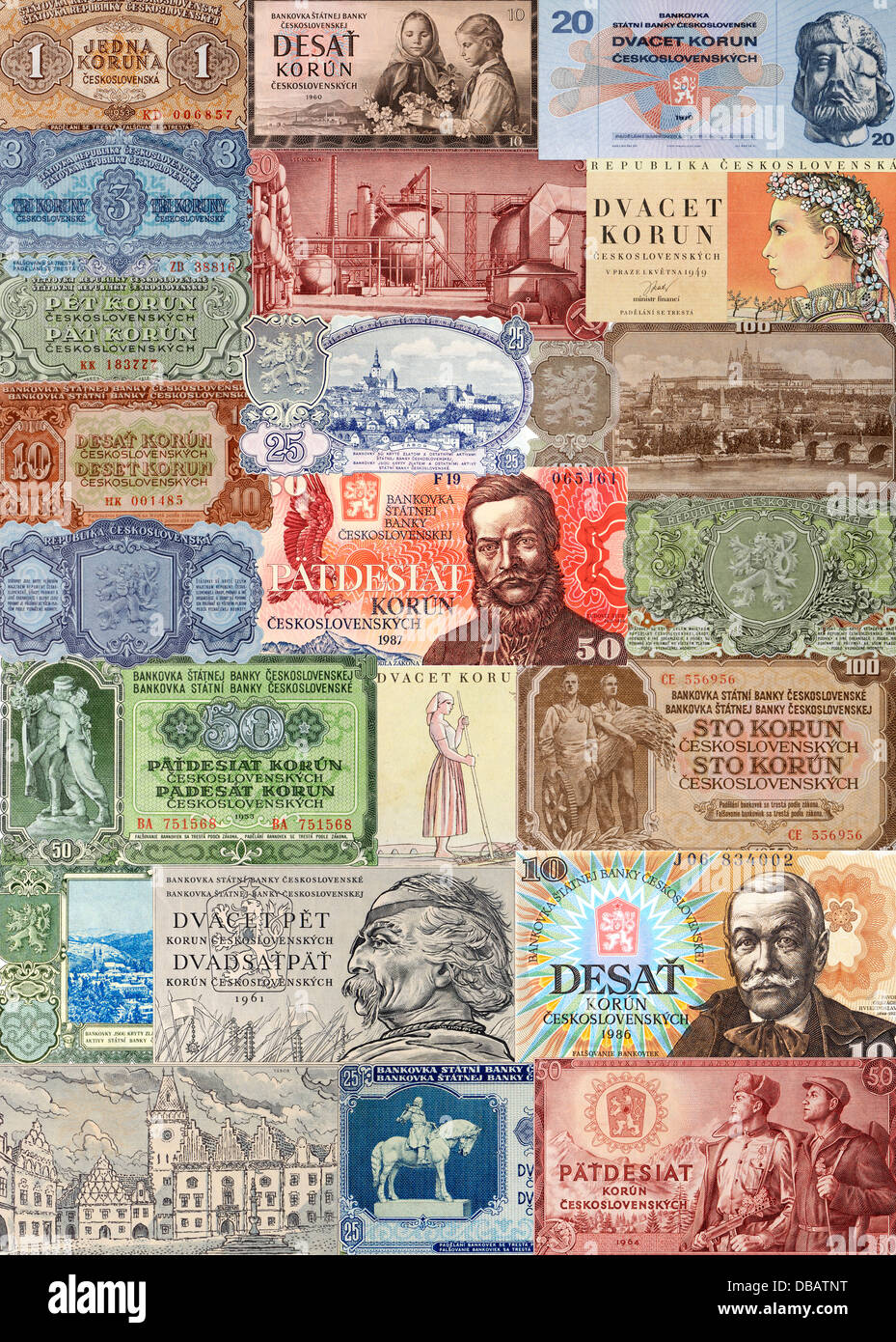 Czechoslovakian banknotes - Stock Image