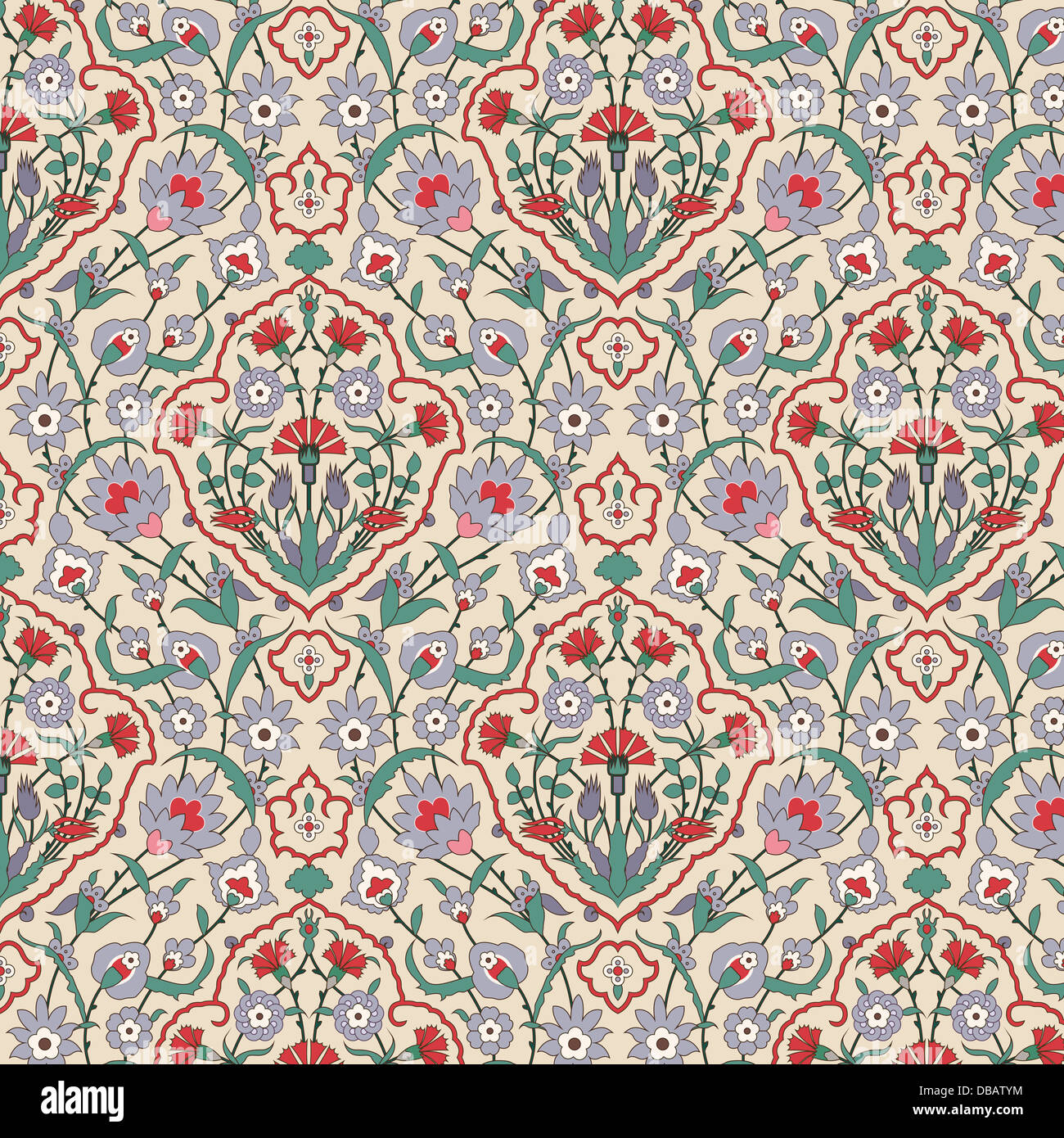 Arabesque seamless pattern with carnations - Stock Image