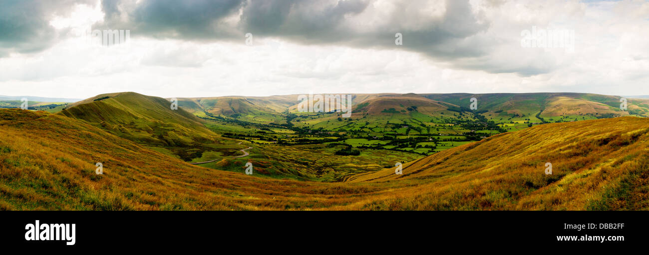 View from Mam Tor near Castleton in the Peak District National Park Derbyshire England, UK - Stock Image