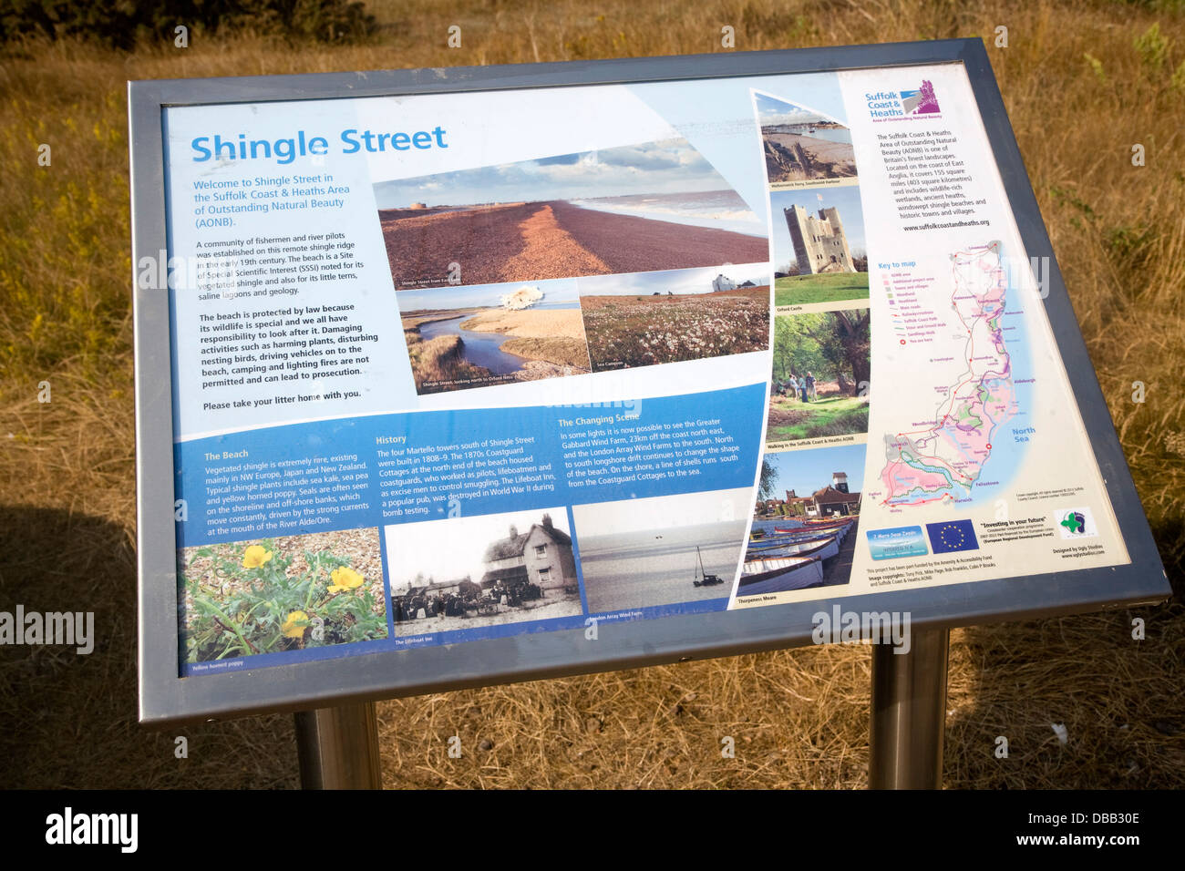 Natural history information board Shingle Street Suffolk England - Stock Image