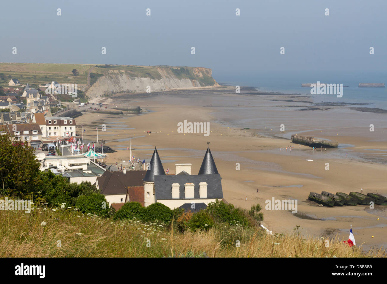 France Normandy, Arromanches, town & Mulberry harbour beach - Stock Image