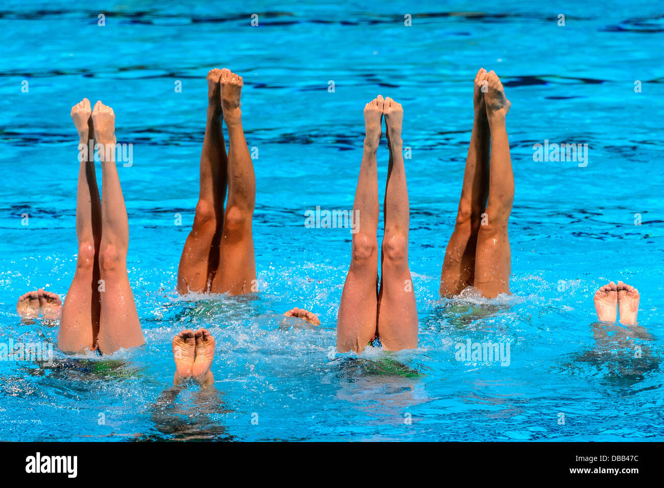 Barcelona, Spain. 26th July 2013: Canada's team competes in the synchronized swimming Team Free Routine finals - Stock Image