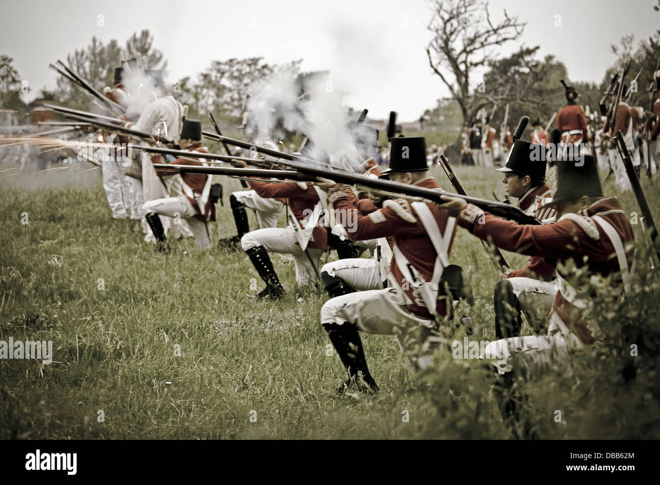 Canada,Ontario,Stoney Creek, War of 1812, Battle of Stoney Creek, British troops firing muskets - Stock Image